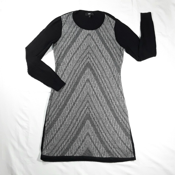Mossimo Supply Co. Dresses & Skirts - Black & Gray Chevron Long Sleeve Sweater Dress